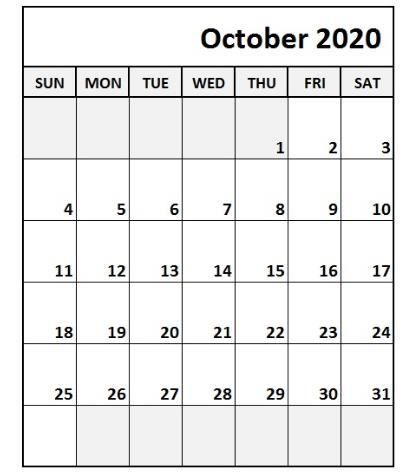 October 2020 Calendar Monthly download