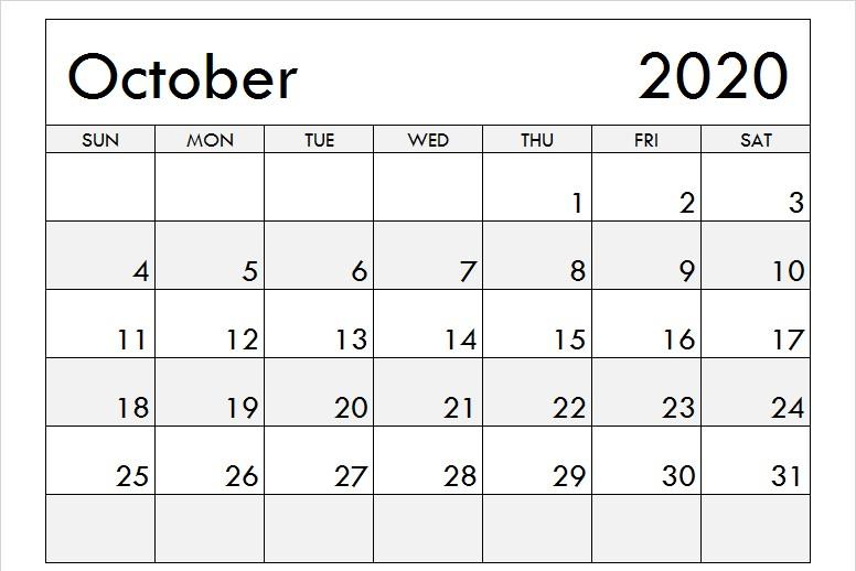 October 2020 Calendar Monthly