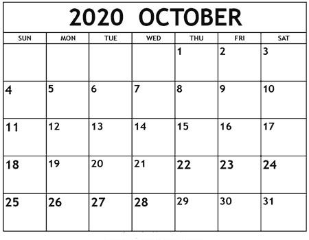 October 2020 Calendar Printable For Kids