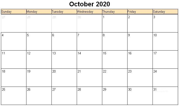 October 2020 Calendar With Holidays Layout