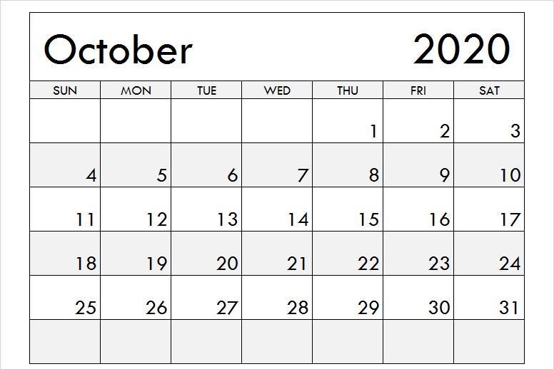 October 2020 Calendar With Holidays USA