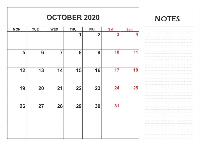 October 2020 Monthly Calendar For Kids