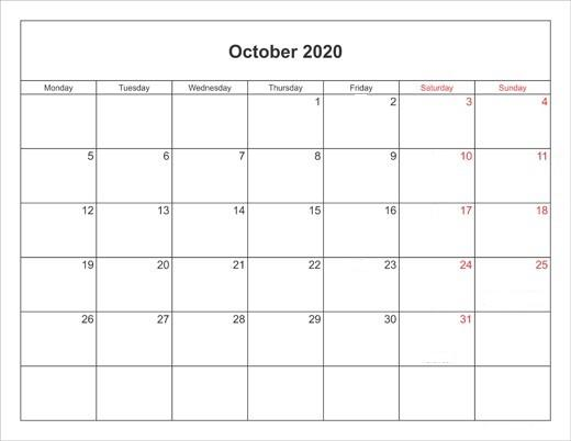 October 2020 Monthly Calendar Free