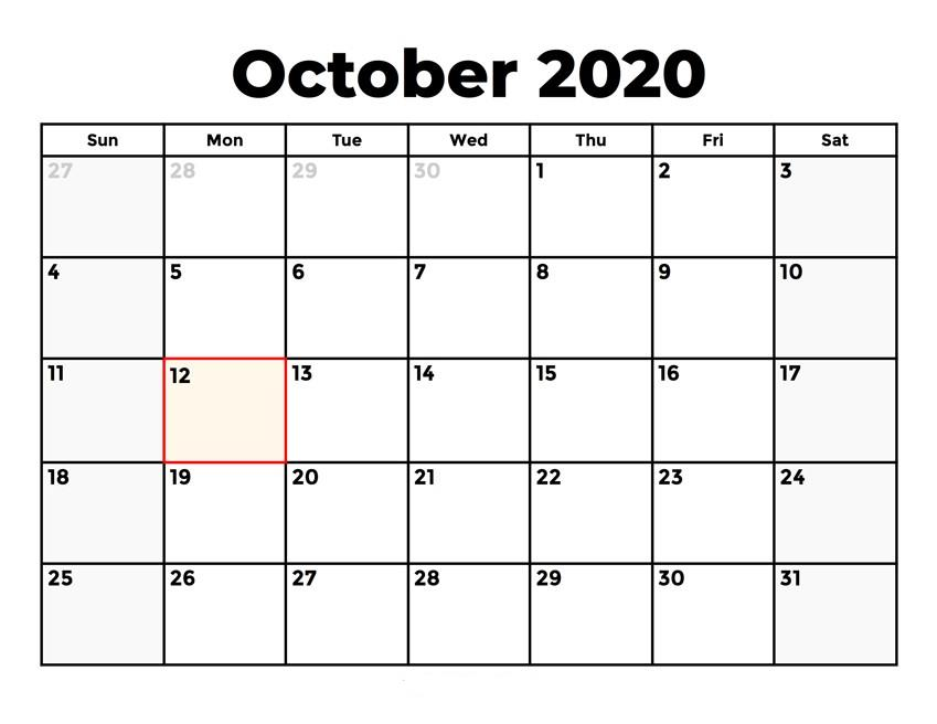 October 2020 Monthly Calendar PDF