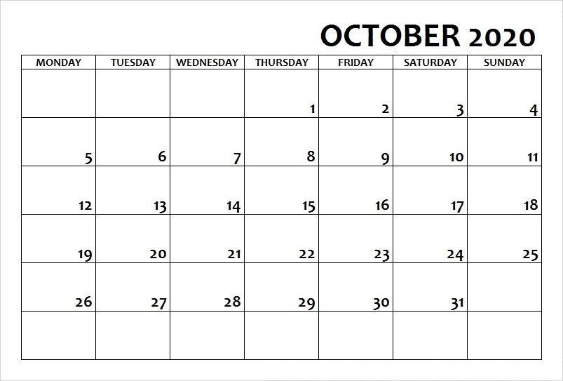 October Calendar 2020 Excel downlaod