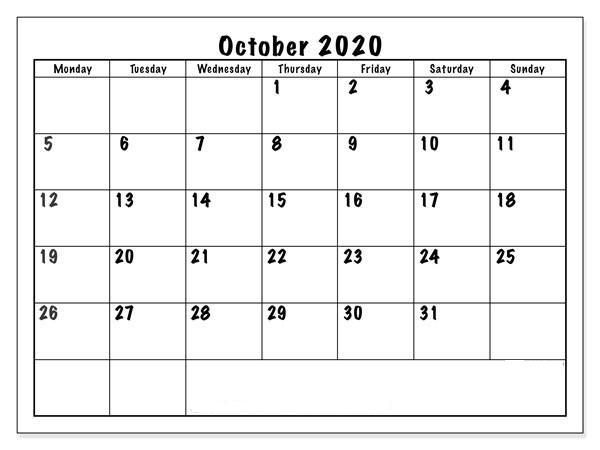October Calendar 2020 Excel free