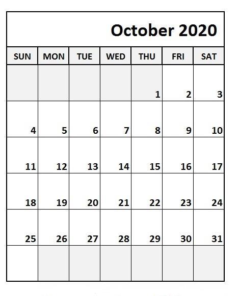 October Calendar 2020 Excel print