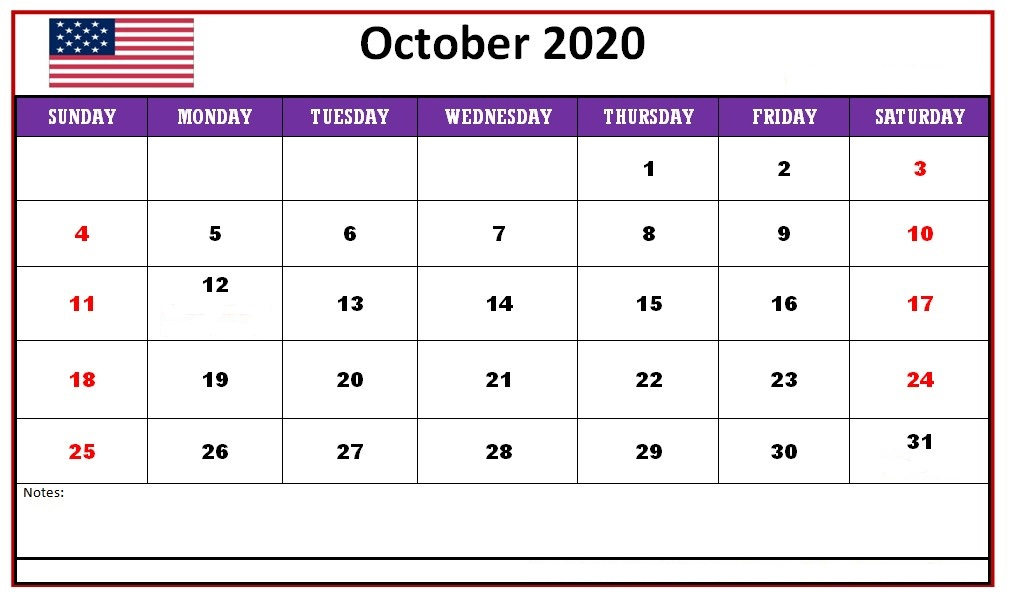 October Calendar 2020 Monthly