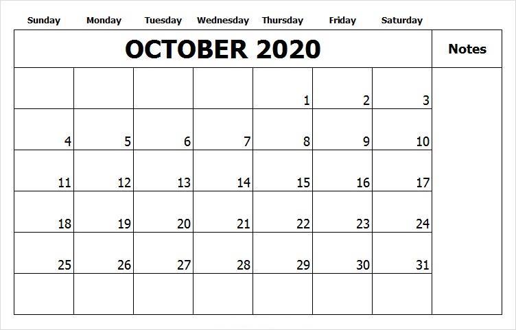 October Calendar 2020 With Holidays