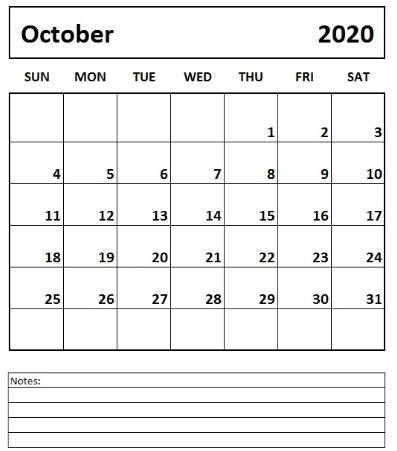October Printable 2020 Calendar free