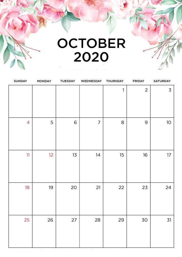 October Printable 2020 Calendar
