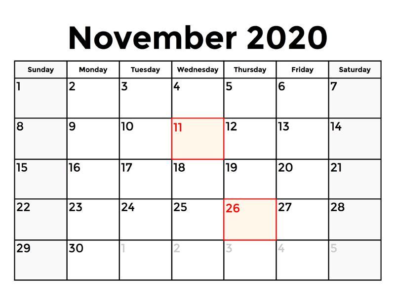 2020 November Calendar Excel