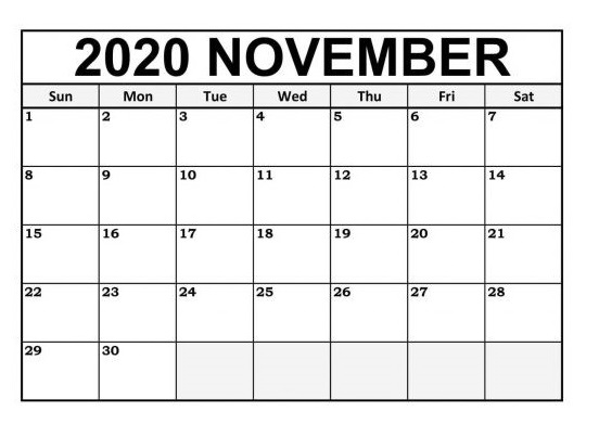 2020 November Calendar With Holidays