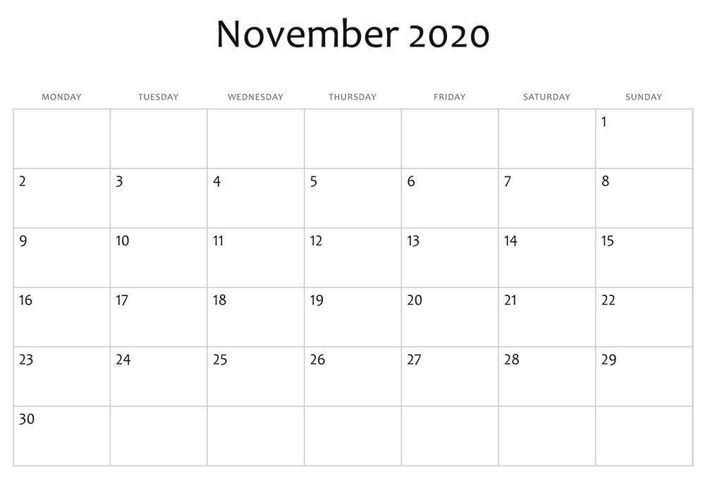 2020 November Monthly Calendar