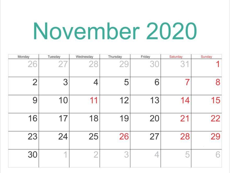 2020 November Template Calendar