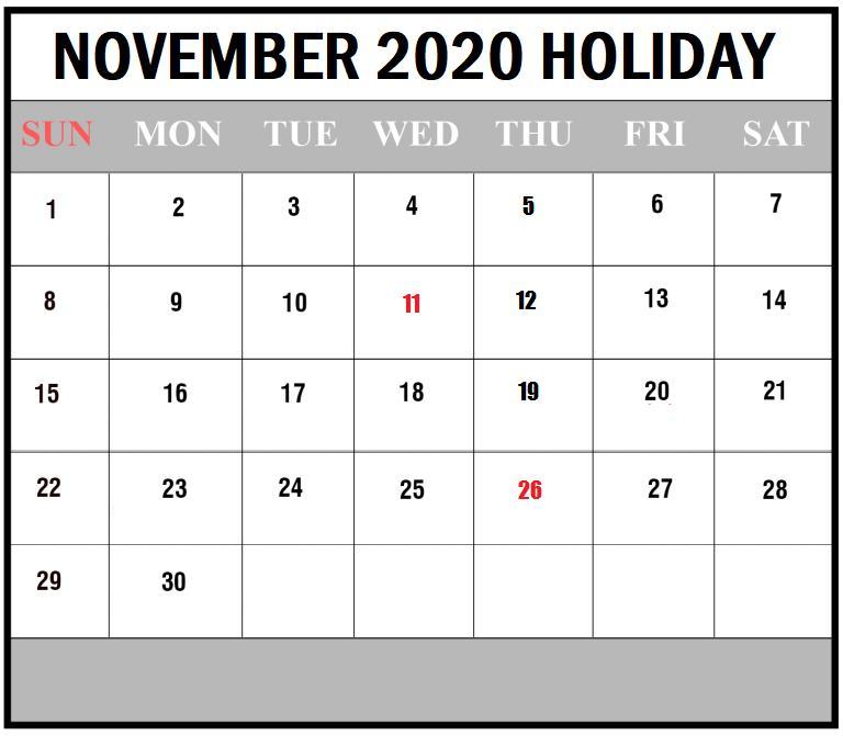 2020 November printable calendar
