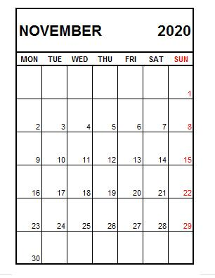 Calendar November 2020 With Holidays