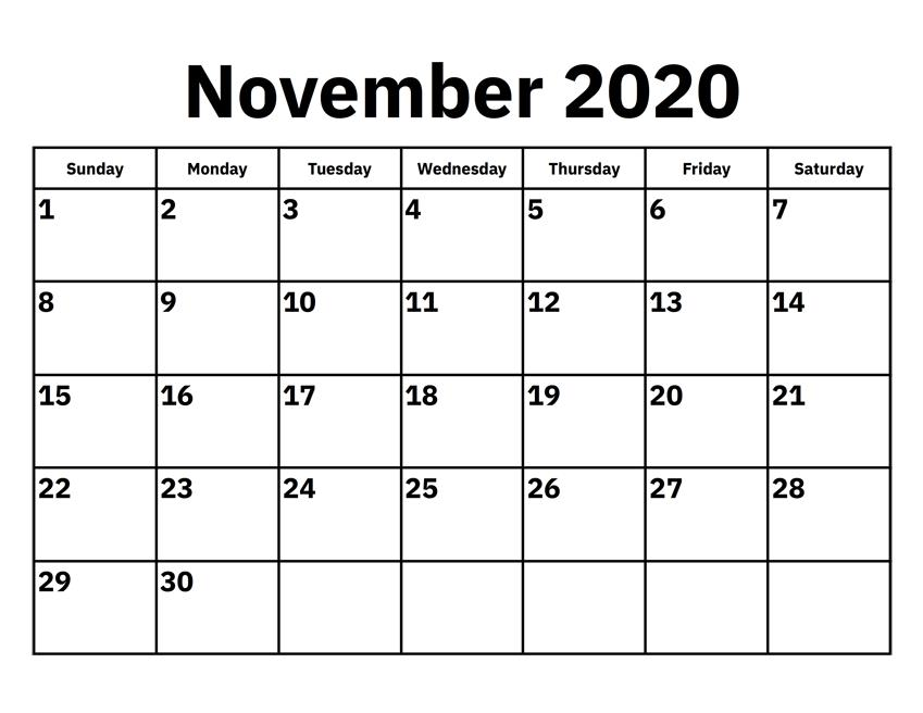 Download November 2020 Calendar Template