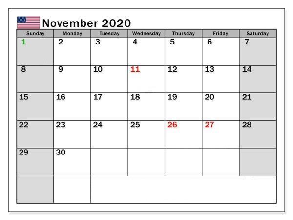 Excel November 2020 Calendar free
