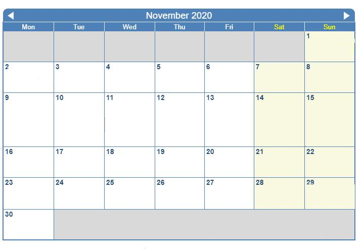 Excel November 2020 Calendar
