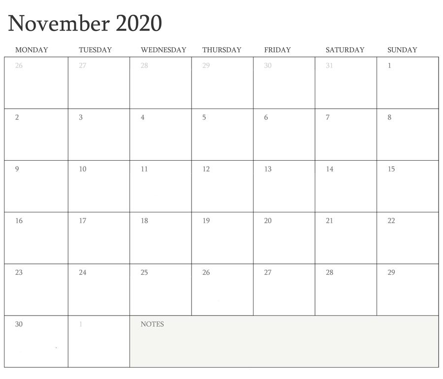 Holidays November 2020 Calendar