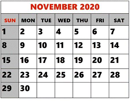 Holoday November 2020 calendar