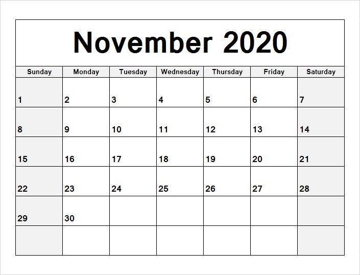 Monthly November calendar 2020