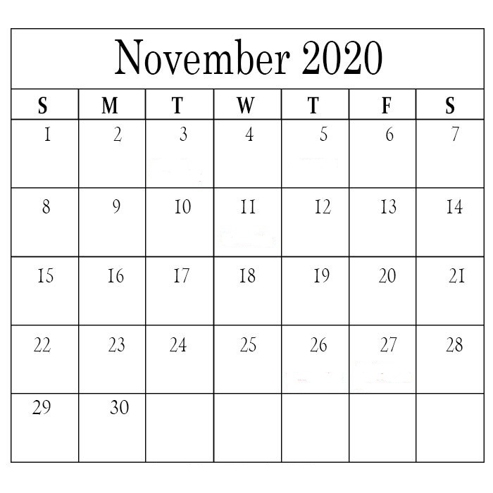 November 2020 Calendar Holidays