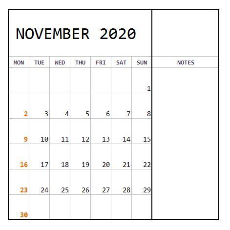 November 2020 Calendar Monthly download