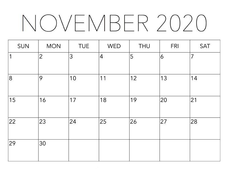 November 2020 Calendar Monthly
