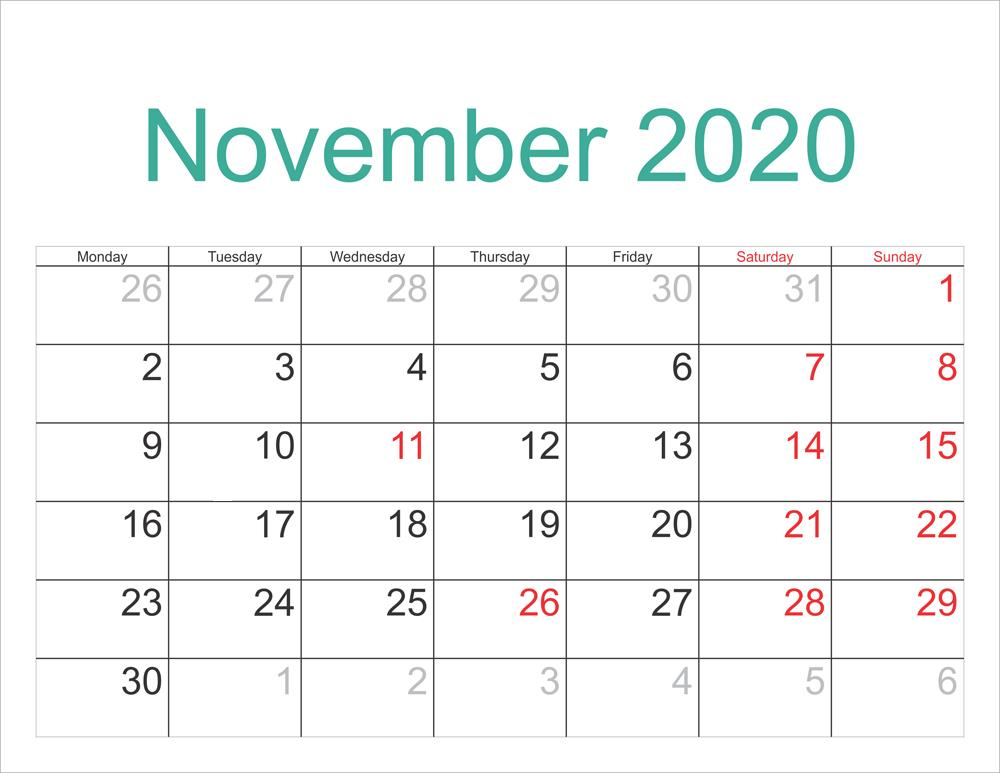 November 2020 Calendar With Holidays Layout