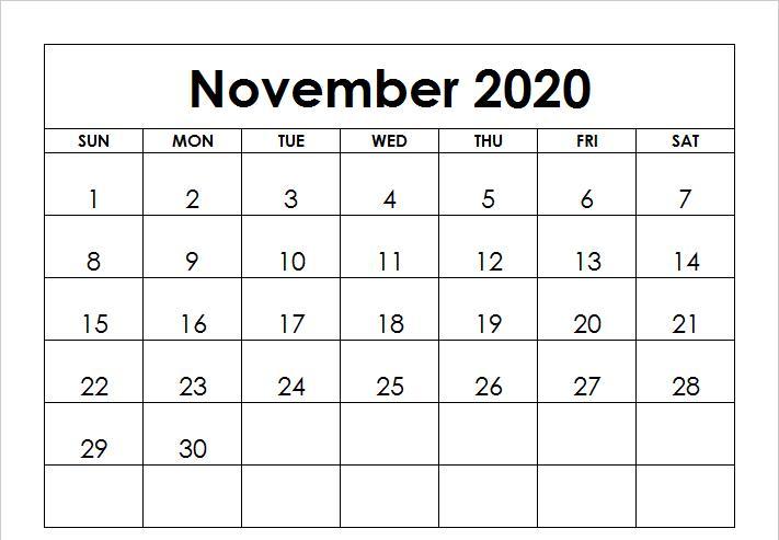 November 2020 Monthly Calendar PDF