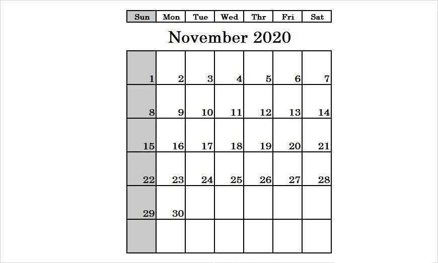 November 2020 Printable Calendar