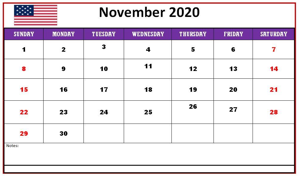 November 2020 Template Calendar