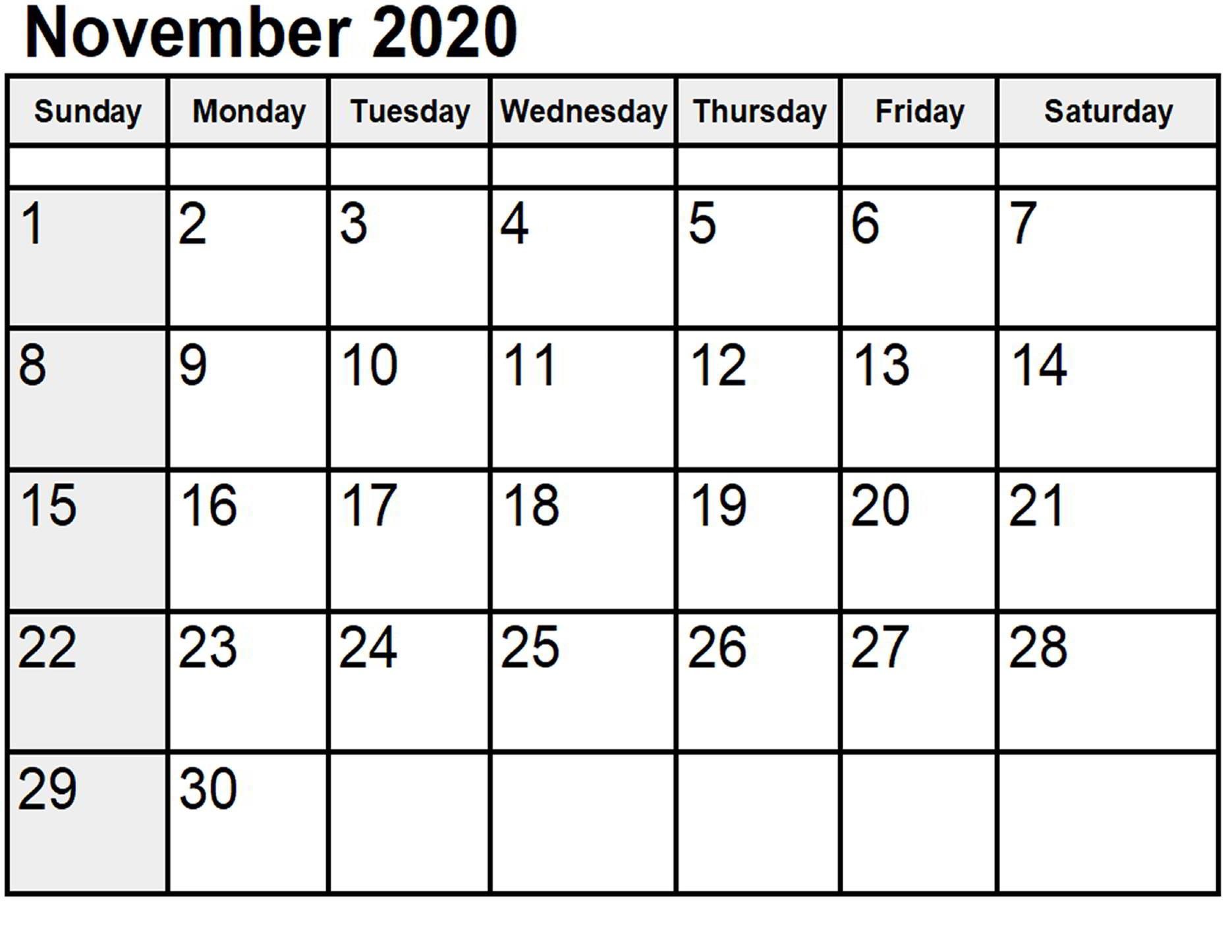November Calendar 2020 Excel downlaod