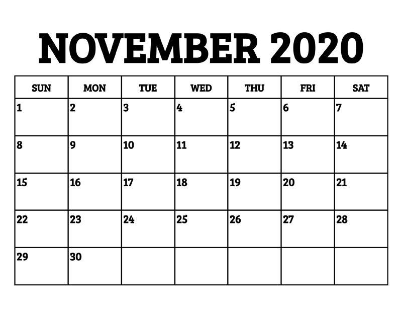November Calendar 2020 Excel free