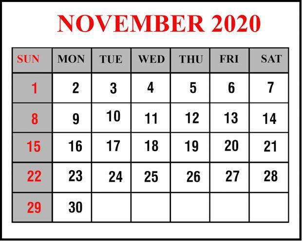 November Calendar 2020 Excel print