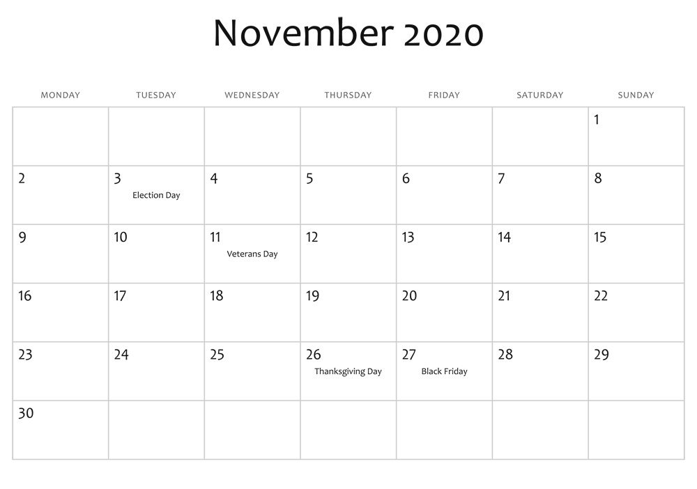 November Calendar 2020 Monthly