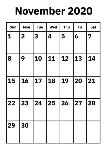 November Calendar 2020 Printable