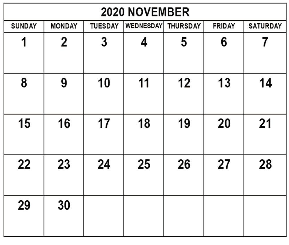 November Calendar 2020 Template free