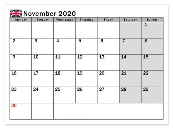 November Printable 2020 Calendar