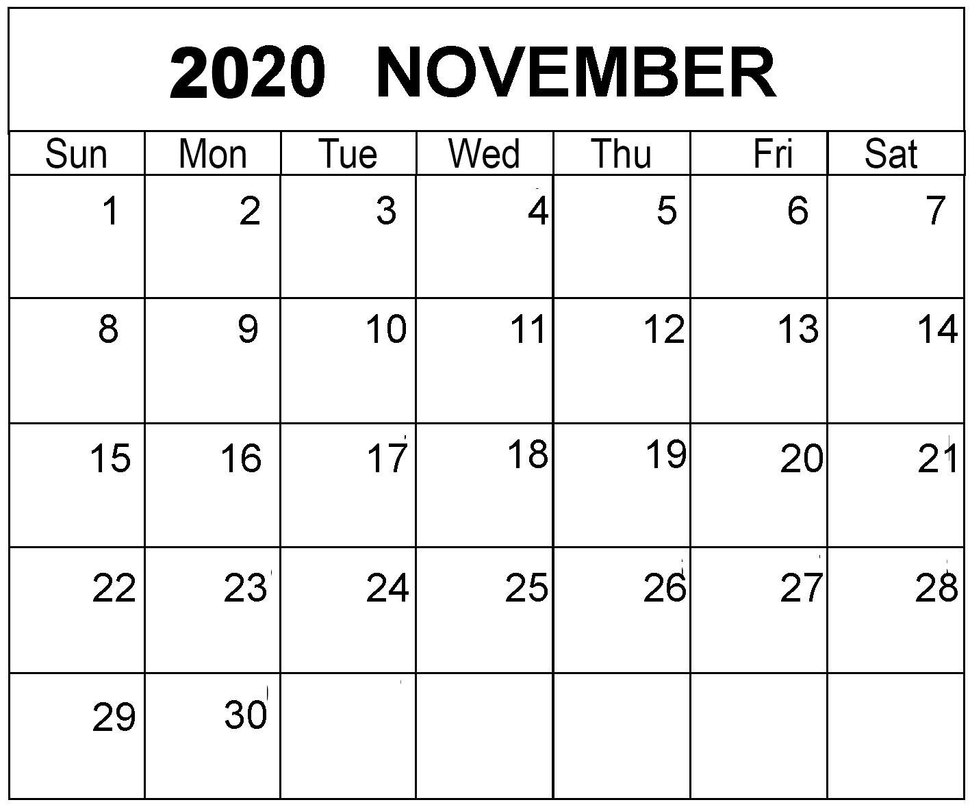 Printable November 2020 Calendar Excel