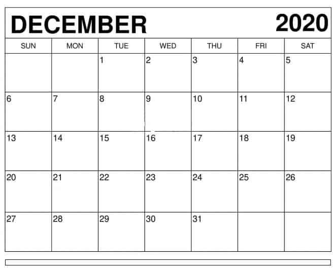 2020 December Calendar With Holidays