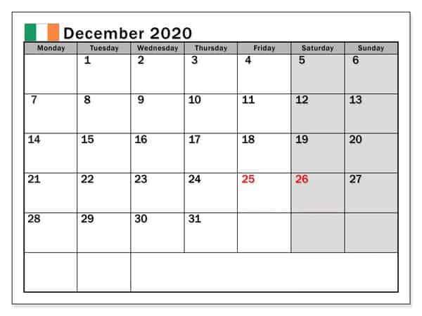 2020 December Monthly Calendar