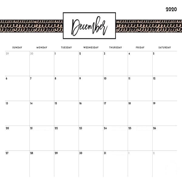 Blank December 2020 Calendar With Holidays