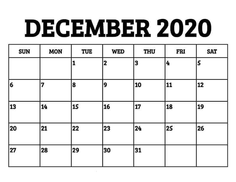 Calendar For 2020 December