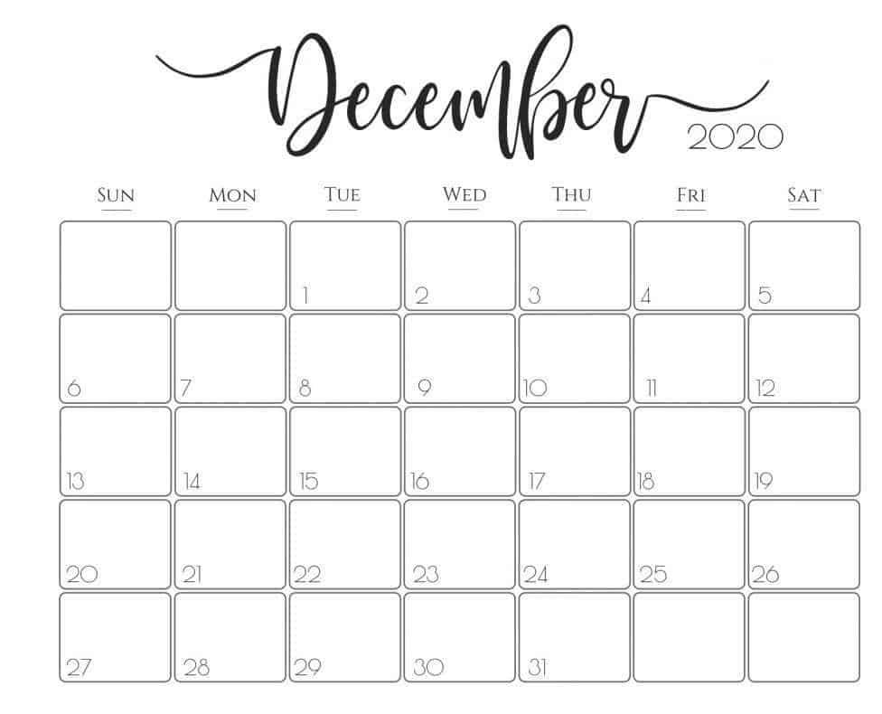 Calendar For December 2020 Holiday