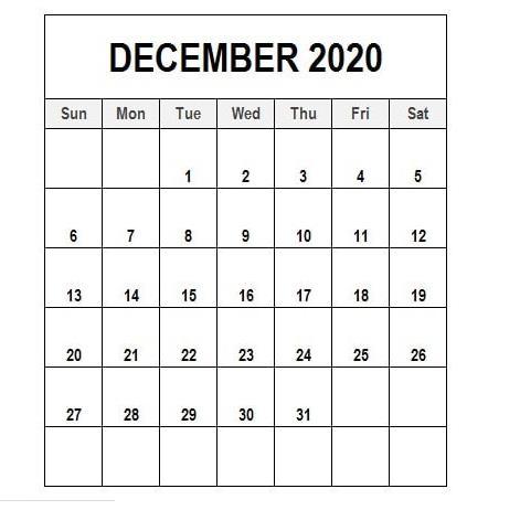 Calendar For December 2020 PDF