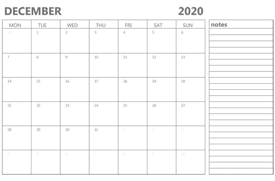 Cute December 2020 Calendar With Holidays