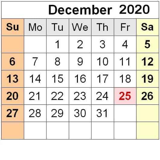 December 2020 Calendar Holidays